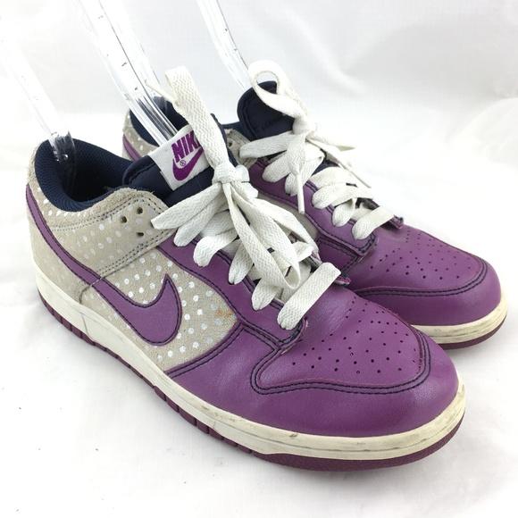 the latest 9e064 3f4d7 Nike Dunks sneakers purple polka dot silver cream